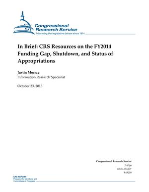 In Brief: CRS Resources on the FY2014 Funding Gap, Shutdown, and Status of Appropriations