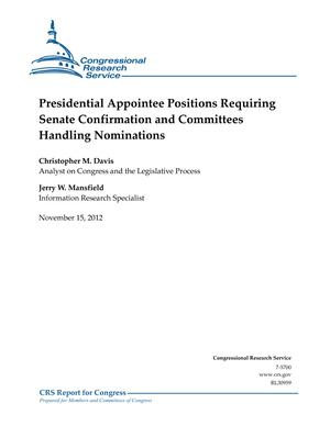 Presidential Appointee Positions Requiring Senate Confirmation and Committees Handling Nominations