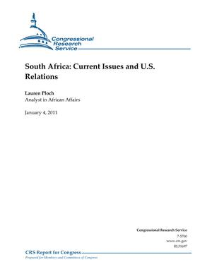 South Africa: Current Issues and U.S. Relations