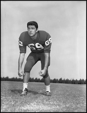 Primary view of object titled '[Football Player Noe Flores No. 69, September 1960]'.