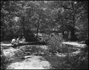 Primary view of object titled '[Campus Life at a Fish Pond]'.