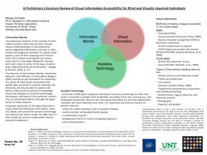 Primary view of object titled 'A Preliminary Literature Review of Visual Information Accessibility for Blind and Visually Impaired Individuals'.