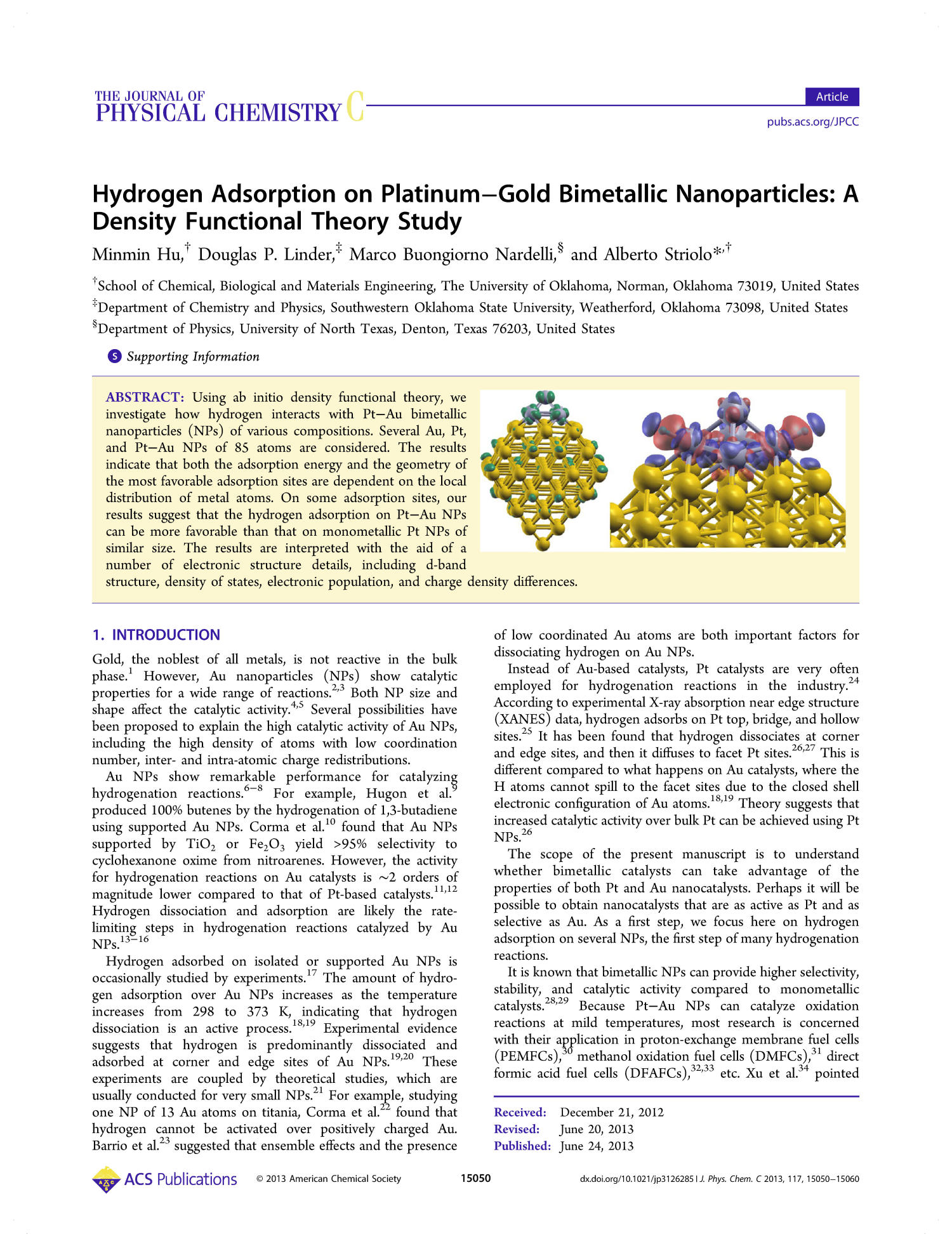 Hydrogen Adsorption on Platinum-Gold Bimetallic Nanoparticles: A Density Functional Theory Study                                                                                                      15050