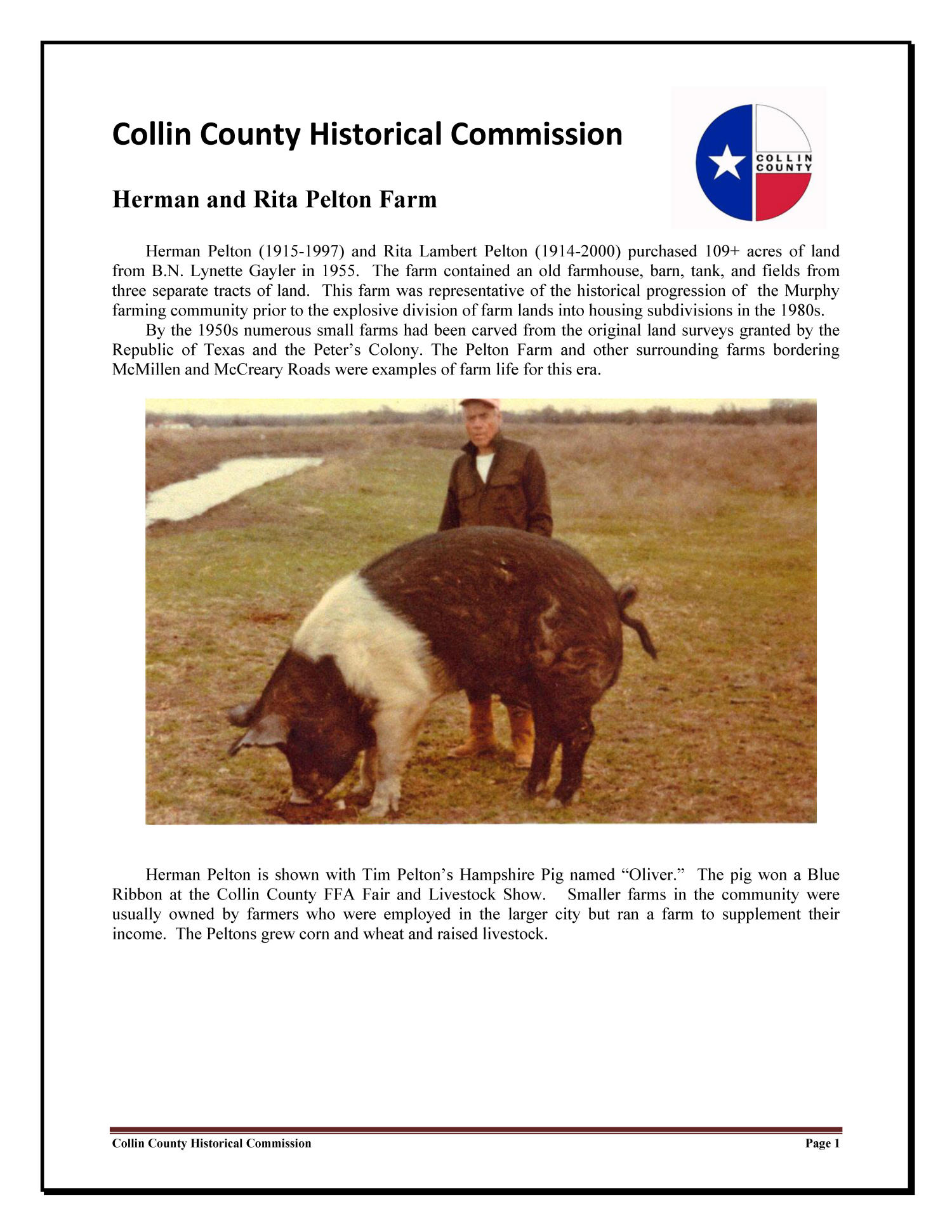 Historical Asset Survey for Collin County Texas                                                                                                      [Sequence #]: 1 of 2