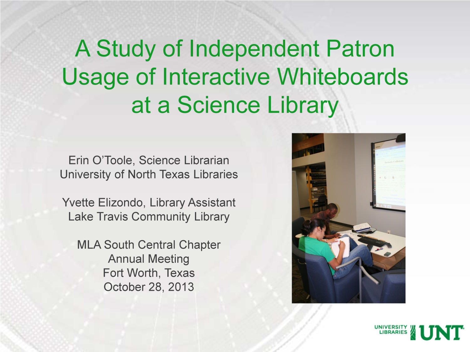 A Study of Independent Patron Usage of Interactive Whiteboards at a Science Library                                                                                                      [Sequence #]: 2 of 15