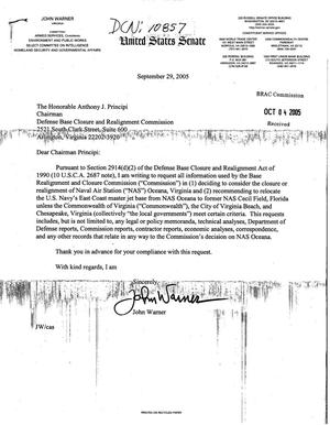 Primary view of object titled 'Executive Correspondence - Letter from Senator Warner (R-VA) to Chairman Principi dtd 29 September 2005'.