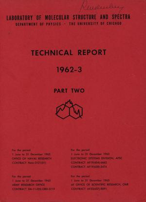 Primary view of object titled 'University of Chicago Laboratory of Molecular Structure and Spectra Technical Report: 1963-1963, Part 2'.