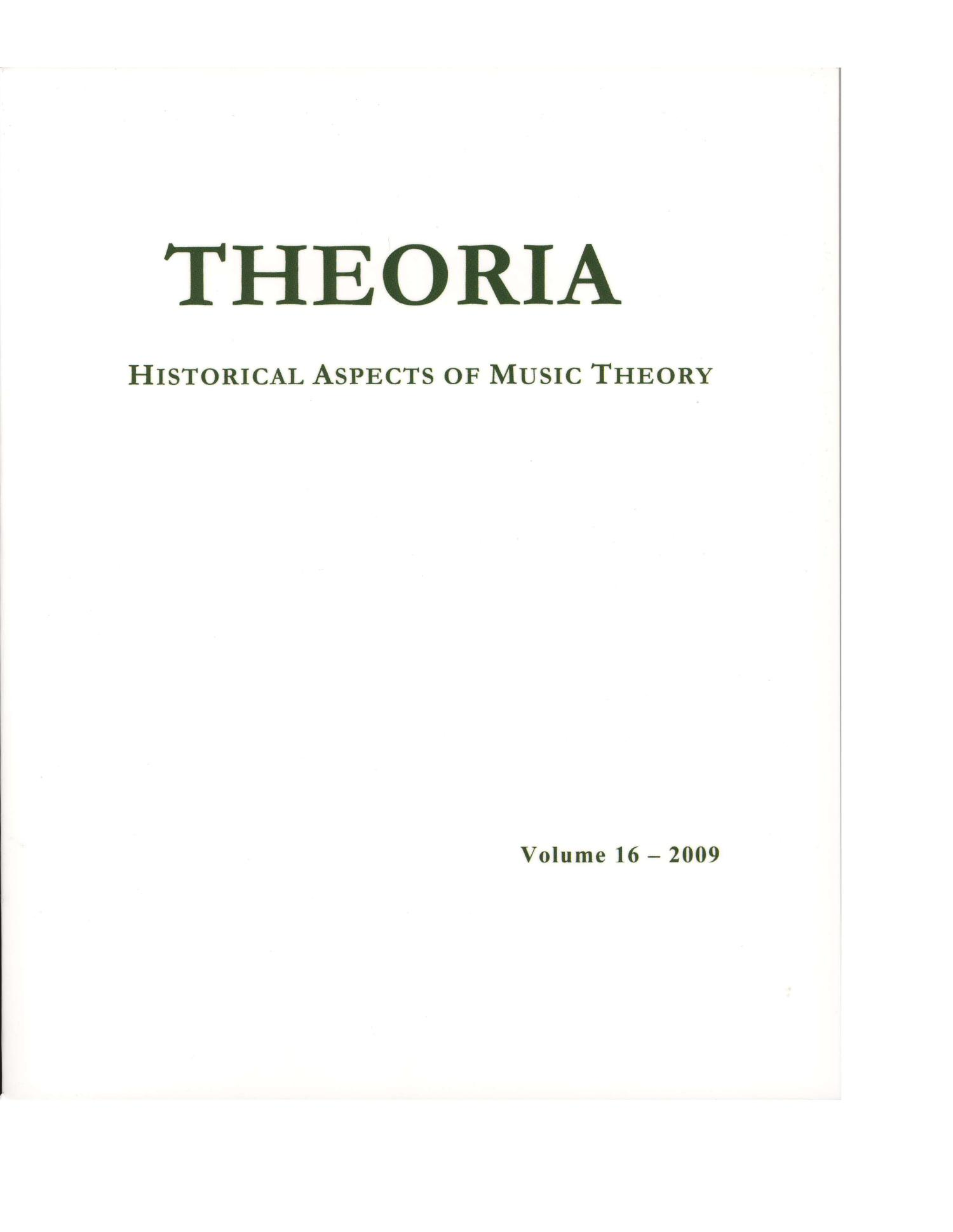 Theoria, Volume 16, 2009                                                                                                      Front Cover