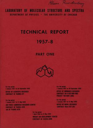 Primary view of object titled 'University of Chicago Laboratory of Molecular Structure and Spectra Technical Report: 1957-1959, Part 1'.