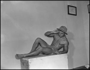 Primary view of object titled '[Man Posing in Safari Hat]'.