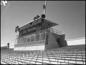 Primary view of object titled '[Press Box at Fouts Field, 1957]'.