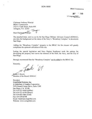 Primary view of object titled '[Letters from the San Diego Military Advisory Council to Anthony J. Principi - August 15, 2005]'.