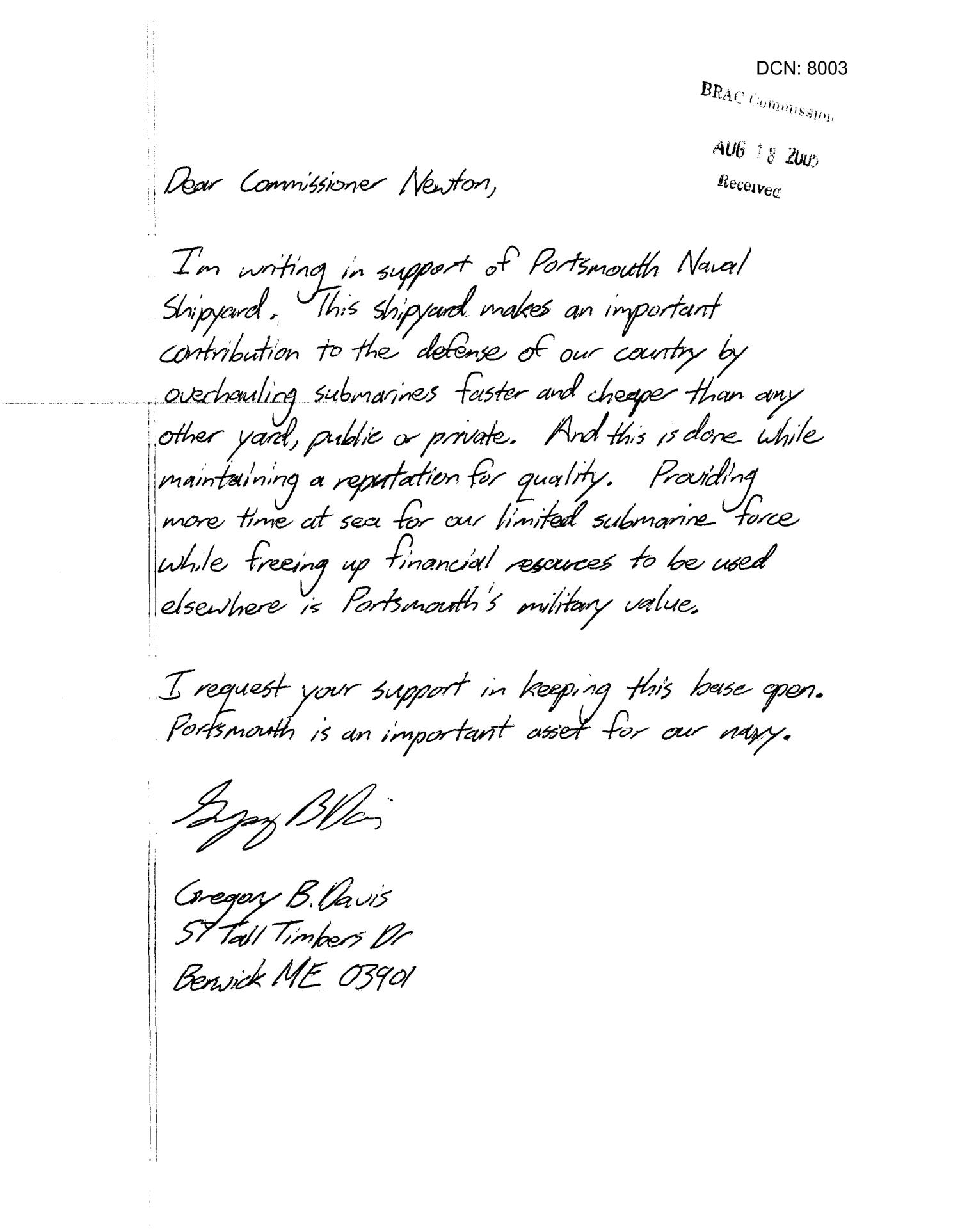 [Letters from Gregory Davis, Edward Woods, and John W. McKinnon to the BRAC Commission - July/August 2005]                                                                                                      [Sequence #]: 1 of 13