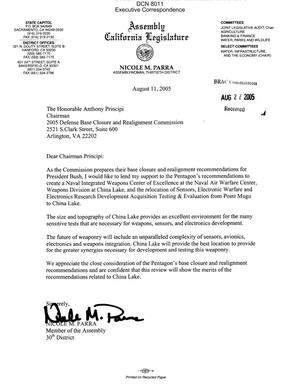 Primary view of object titled 'Executive Correspondence – Letter dtd 08/11/05 to Chairman Principi from CA Assembly Member Nicole Parra'.