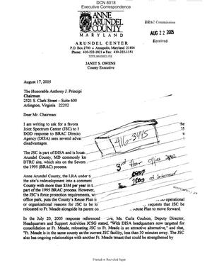 Primary view of object titled 'Executive Correspondence – Letters dtd 08/17/05 to Chairman Principi and the Commissioners from Anne Arundel County, MD County Executive Janet Owens'.
