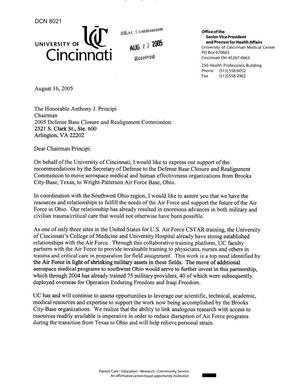 Primary view of object titled 'Executive Correspondece - Letter from Dr. Jane E. Henney, University of Cincinnati Regarding Aerospace Medical and Human Effectiveness Organizations'.