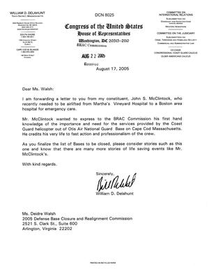 Primary view of object titled 'Executive Correspondece - Letter from Congressman William Delahunt (Mass) Regarding Otis AFB'.