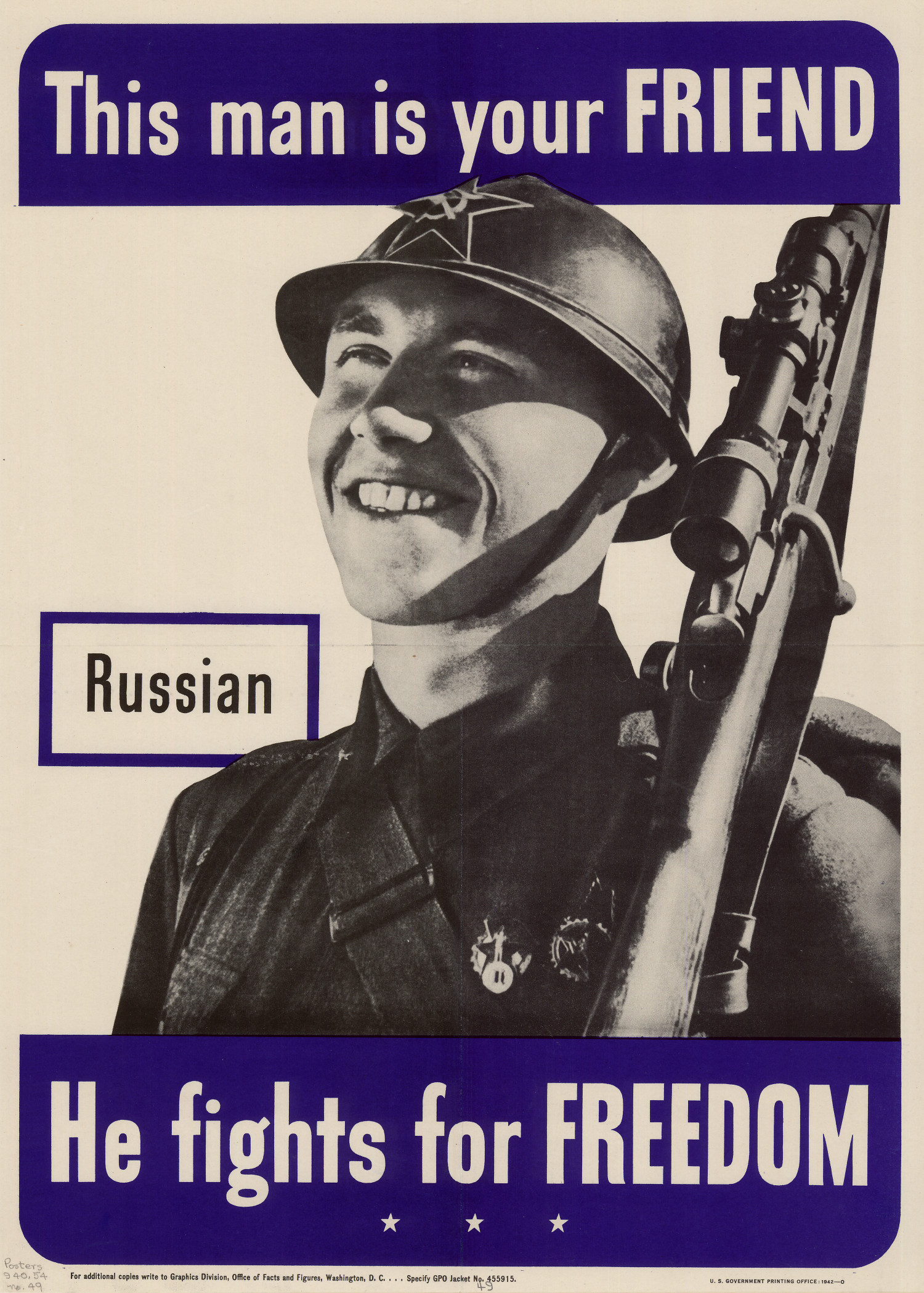 This man is your friend : Russian : he fights for freedom.                                                                                                      [Sequence #]: 1 of 1
