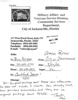 Primary view of object titled 'Executive Correspondence - Letter from Jacksonville, Florida Mayor John Peyton Regarding the Redevelopment of Cecil Field into a Master Jet Base'.