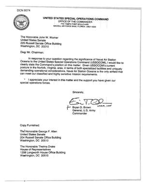 Primary view of object titled 'Executive Correspondence - Letter from US Army General Bryan D. Brown Regarding NAS Oceana'.