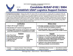 Primary view of object titled 'Candidate recommendation #USAF-0102/S904 USAF Logistics Support Centers'.
