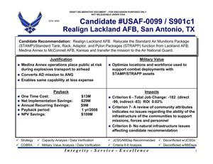 Primary view of object titled 'Candidate Recommendation #USAF-0099/S901c1 Lackland AFB'.