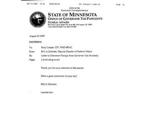 Primary view of object titled 'Executive Correspondence – Letter 08/23/05 to Chairman Principi from Minnesota Governor Tim Pawlenty'.