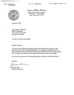 Primary view of object titled 'Executive Correspondence - Letter from Town of West Tisbury Board of Selectmen in Massachusetts Regarding Otis AFB'.
