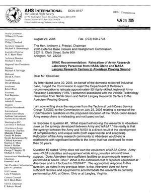Primary view of object titled 'Coalition Correspondence - Letter from Rhett Flater, Executive Director of AHS International, The Vertical Flight Society, in regards to the relocation of Army Research Laboratory Personnel from NASA Glenn and NASA Langley Research Centers to Aberdeen Proving Ground'.
