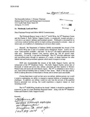 Primary view of object titled 'Community Correspondence - Letter from Individual regarding th 911th Airlift Wing, the 99th Readiness Center and the Kelly Military Support Facility - Pittsburg international Airport Guard Reserve Station'.