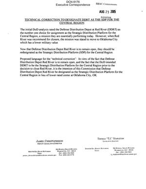 Primary view of object titled 'Executive Correspondence – Document hand delivered to the Commission on 08/25/05 by the office of TX Senator Kay Bailey Hutchison'.