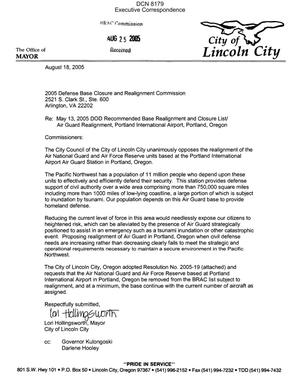Primary view of object titled 'Letter dtd 08/18/05 to the Commission from Mayor Hollingsworth of Lincoln City, OR'.