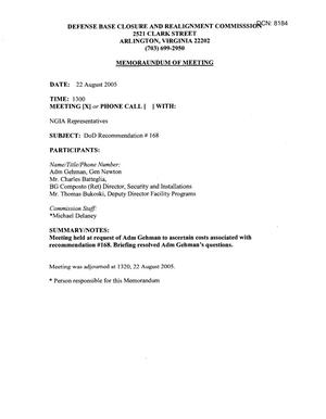 Primary view of object titled '[Memorandum of Meeting: National Geospatial Intelligence Agency, August 22, 2005, Part 1]'.