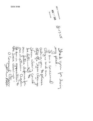 Primary view of object titled '[Letters to the BRAC Commission - August 2005]'.