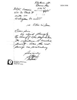 Primary view of object titled '[Letters from Residents of Massachusetts to the BRAC Commission - July-August 2005]'.