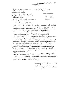 Primary view of object titled '[Letters from Residents of New Jersey to the BRAC Commission - August 2005]'.