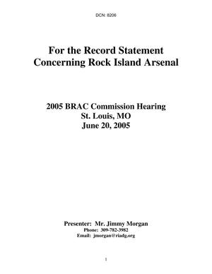 Primary view of object titled 'State Input - Rock Island Arsenal, IA/IL Community Presentation - June 20, 2005'.