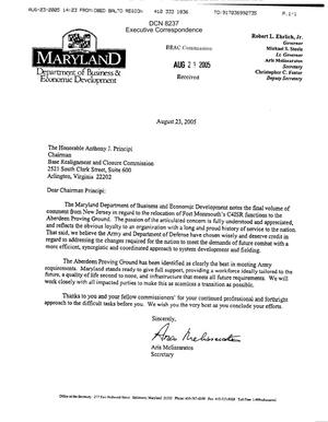 Primary view of object titled 'Executive Correspondence – Letter dtd 08/23/05 to Chairman Principi from MD Department of Business and Economic Development Aris Melissaratos'.