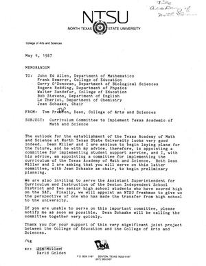 Primary view of object titled '[Memorandum from Tom Preston, May 4, 1987]'.