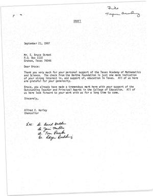 Primary view of object titled '[Draft of a Letter from Alfred F. Hurley to E. Bruce Street, September 21, 1987]'.