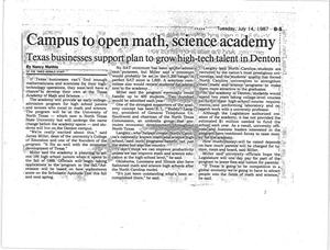 Primary view of object titled 'Campus to open math, science academy'.