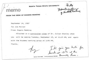 Primary view of object titled '[Memo from Rogers W. Redding to James R. Miller, September 14, 1987]'.