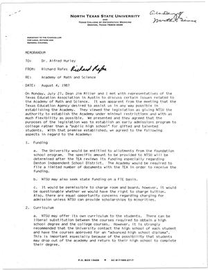 Primary view of object titled '[Memorandum from Richard Rafes to Alfred Hurley, August 4, 1987]'.
