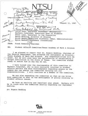 Primary view of object titled '[Memorandum from Frank Kemerer, August 11, 1987]'.