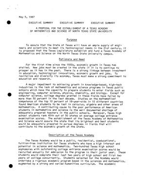 Primary view of object titled '[Executive Summary of A Proposal for the Establishment of a Texas Academy of Mathematics and Science at North Texas State University]'.