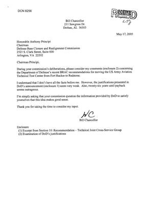 Primary view of object titled 'Community Correspondence - Letter from Bill Chancellor Regarding US Army Aviation Technical Test Center'.
