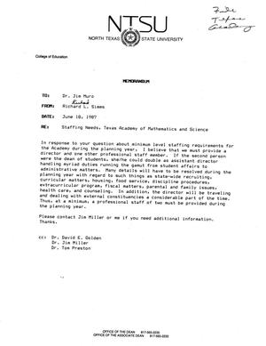 Primary view of object titled '[Memorandum from Richard L. Simms to Jim Muro, June 18, 1987]'.