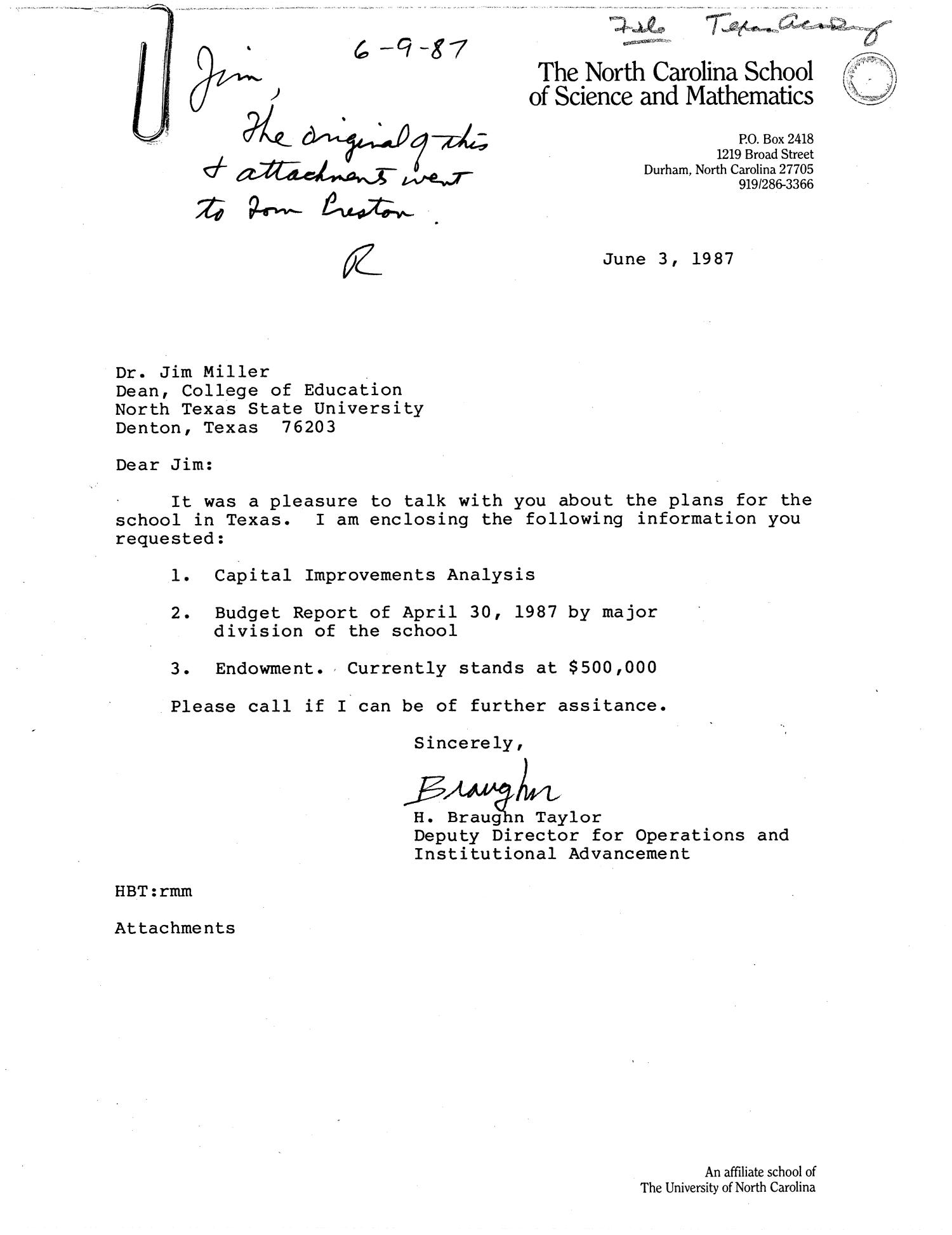 [Letter from H. Braughn Taylor to James R. Miller, June 3, 1987]                                                                                                      [Sequence #]: 1 of 4