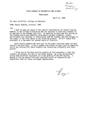 Primary view of object titled '[Letter from Rogers Redding to James Miller, April 11, 1988]'.