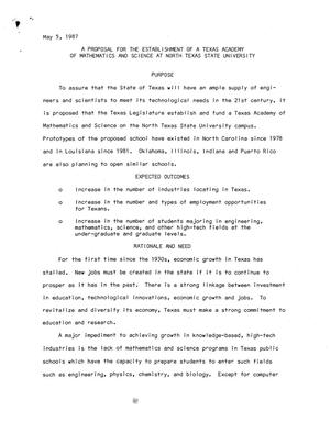 Primary view of object titled 'A Proposal for the Establishment of a Texas Academy of Mathematics and Science at North Texas State University'.